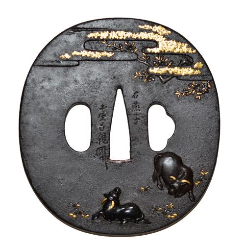 牧牛図鐔  土屋昌親c-6-1masachika